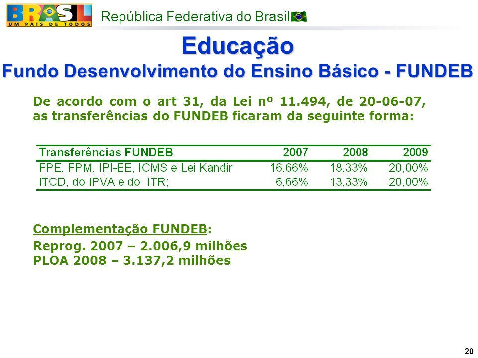 Educação Fundo Desenvolvimento do Ensino Básico - FUNDEB