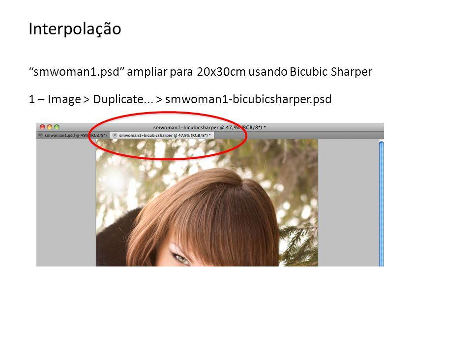 Interpolação smwoman1.psd ampliar para 20x30cm usando Bicubic Sharper.
