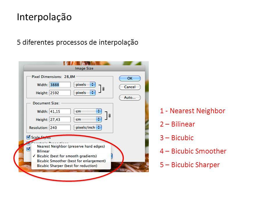 Interpolação 5 diferentes processos de interpolação