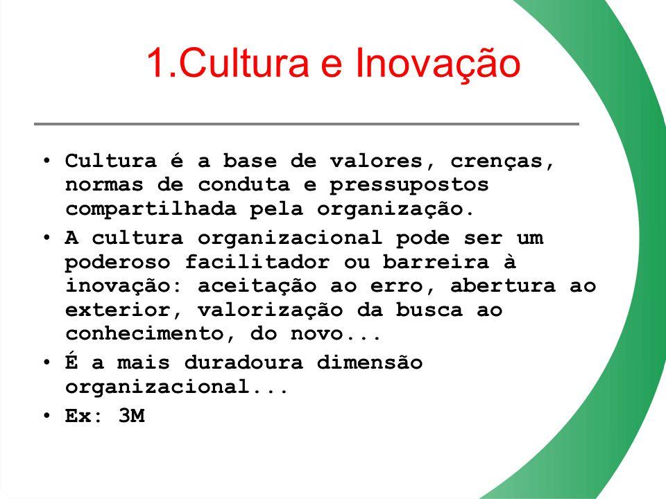 1.Cultura e Inovação Cultura é a base de valores, crenças, normas de conduta e pressupostos compartilhada pela organização.