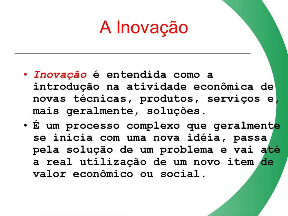 A Inovação Inovação é entendida como a introdução na atividade econômica de novas técnicas, produtos, serviços e, mais geralmente, soluções.