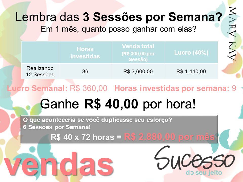 vendas Ganhe R$ 40,00 por hora! Lembra das 3 Sessões por Semana