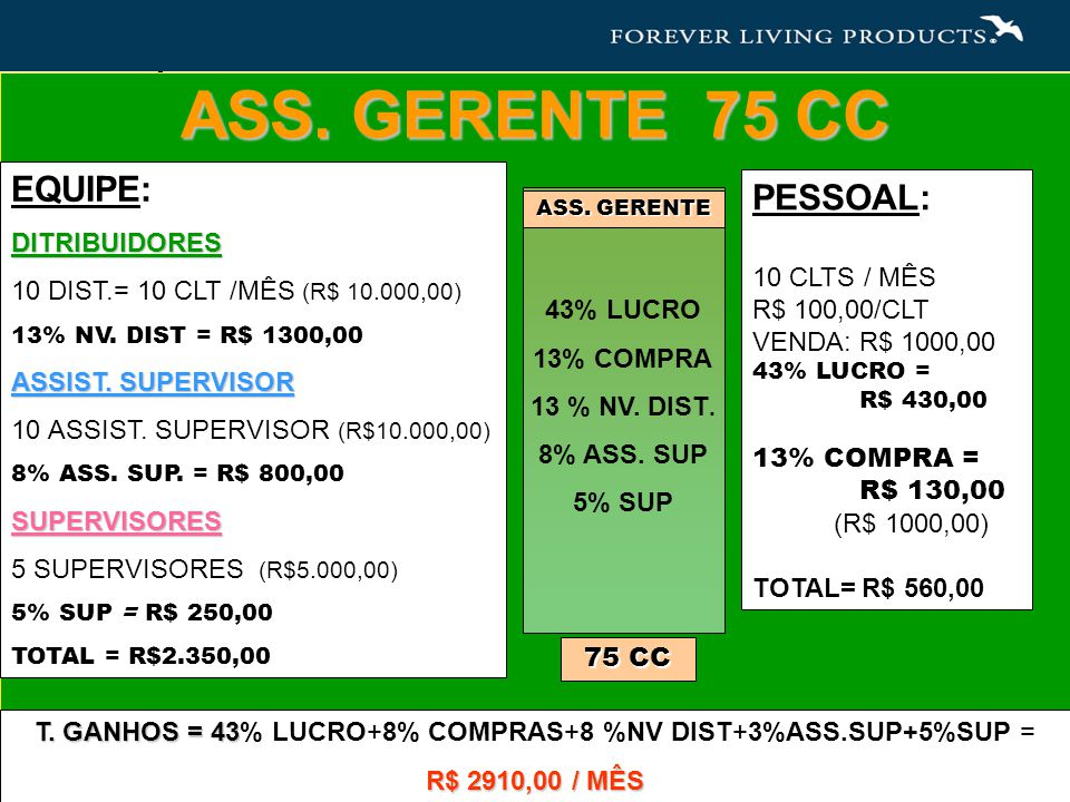 T. GANHOS = 43% LUCRO+8% COMPRAS+8 %NV DIST+3%ASS.SUP+5%SUP =