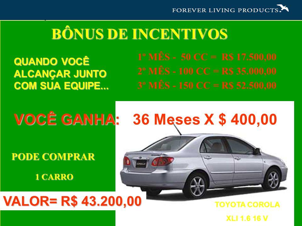 BÔNUS DE INCENTIVOS VOCÊ GANHA: 36 Meses X $ 400,00