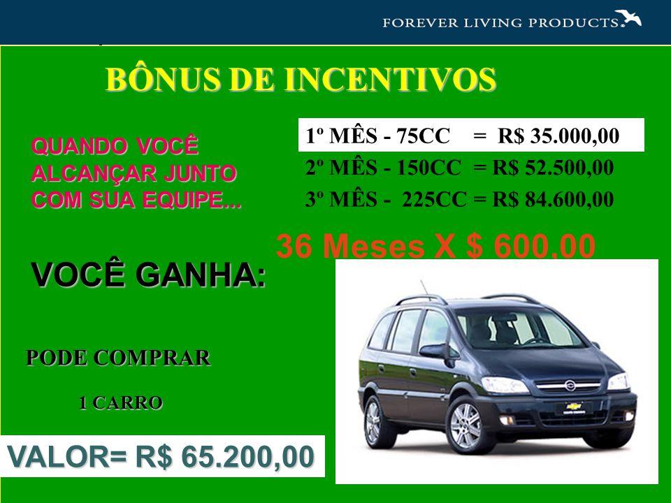 BÔNUS DE INCENTIVOS 36 Meses X $ 600,00 VOCÊ GANHA: