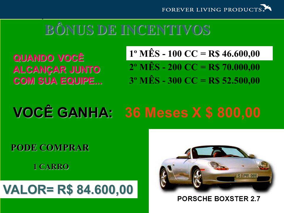 BÔNUS DE INCENTIVOS VOCÊ GANHA: 36 Meses X $ 800,00