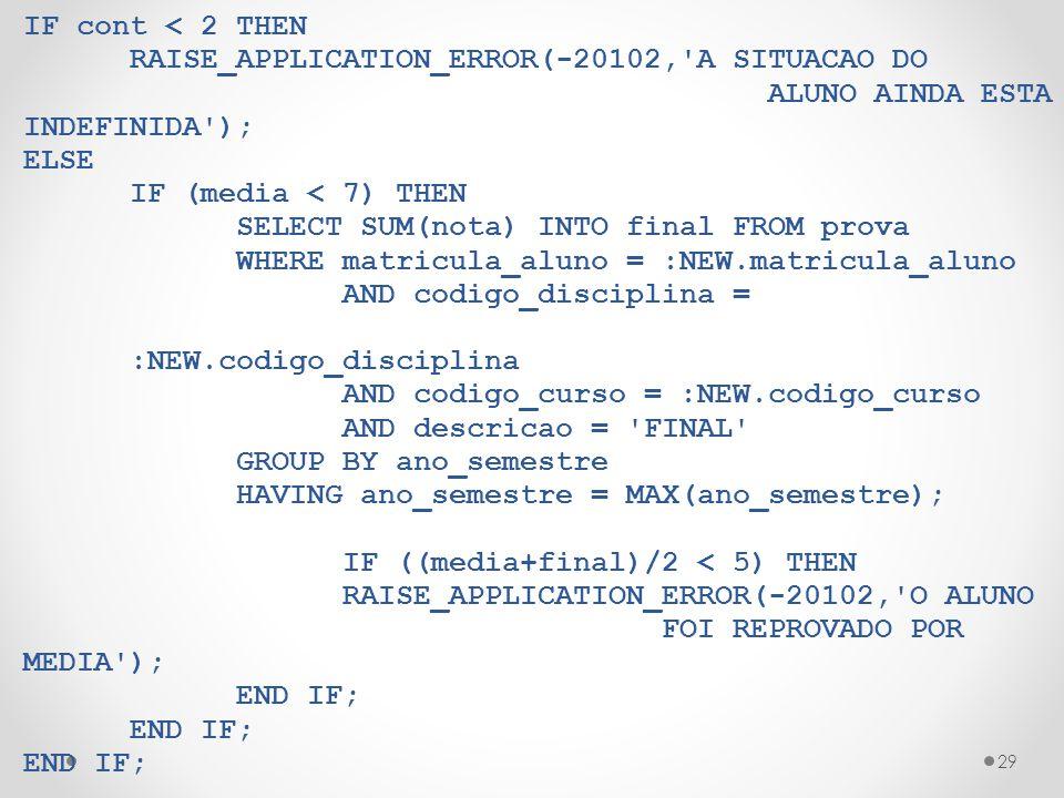 IF cont < 2 THEN RAISE_APPLICATION_ERROR(-20102, A SITUACAO DO. ALUNO AINDA ESTA INDEFINIDA ); ELSE.