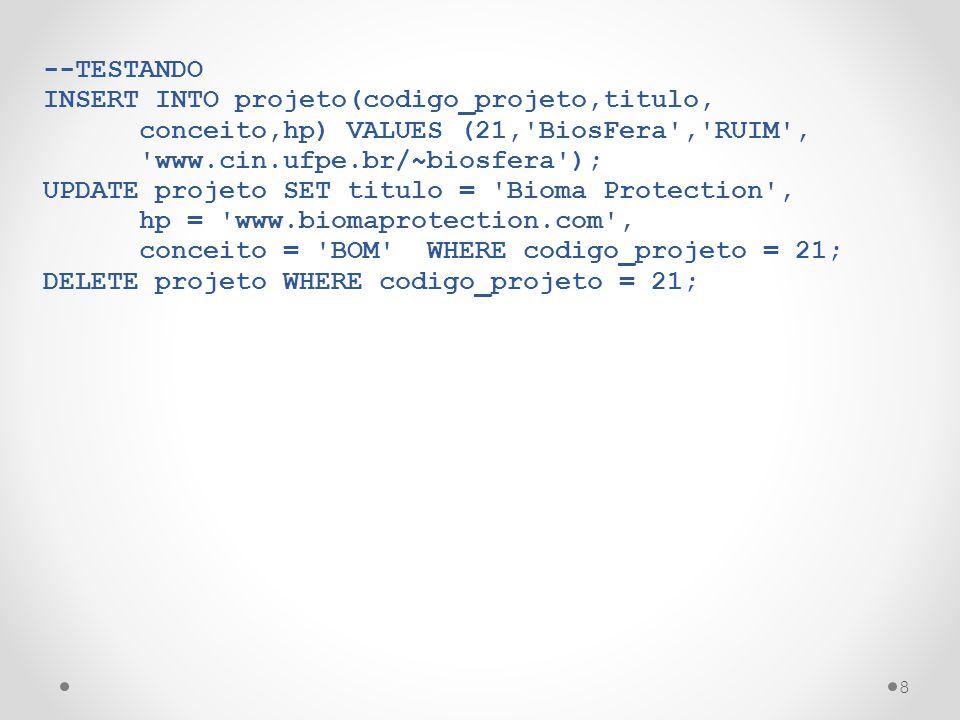 --TESTANDO INSERT INTO projeto(codigo_projeto,titulo, conceito,hp) VALUES (21, BiosFera , RUIM , www.cin.ufpe.br/~biosfera );