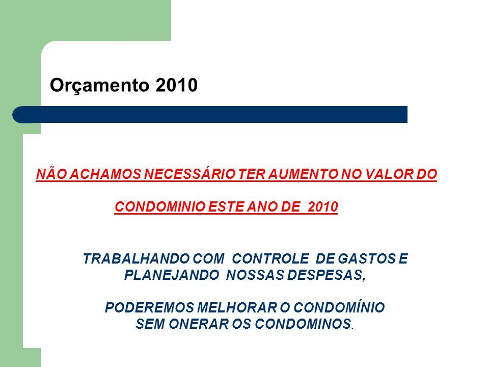 Orçamento 2010 NÃO ACHAMOS NECESSÁRIO TER AUMENTO NO VALOR DO