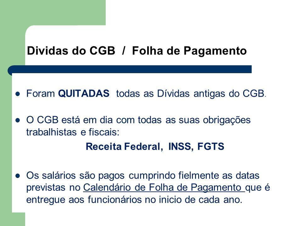 Dividas do CGB / Folha de Pagamento
