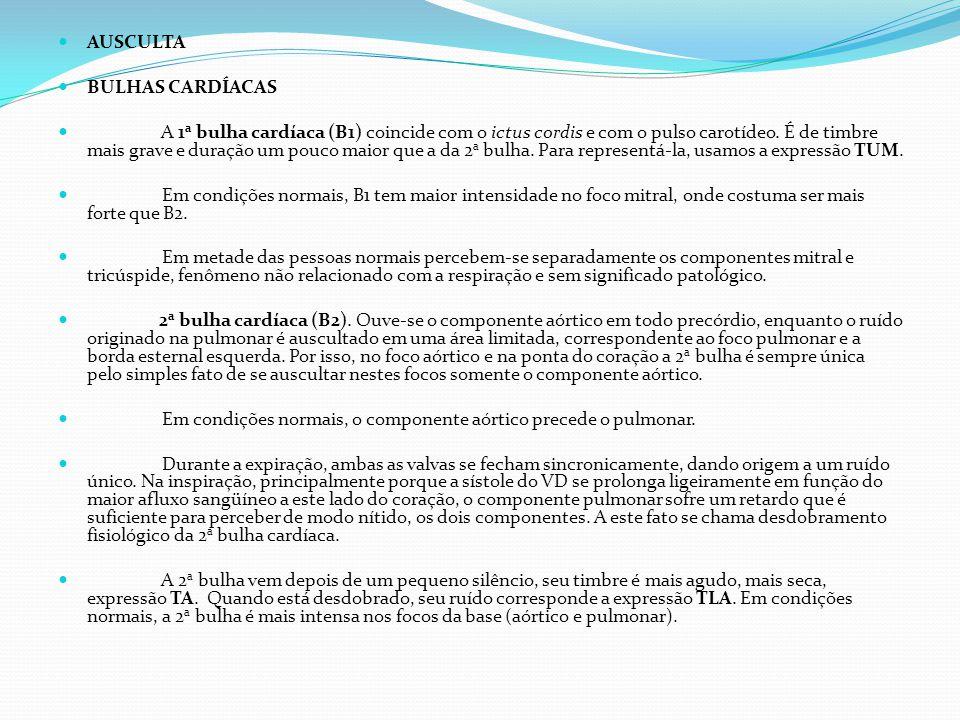 AUSCULTA BULHAS CARDÍACAS.