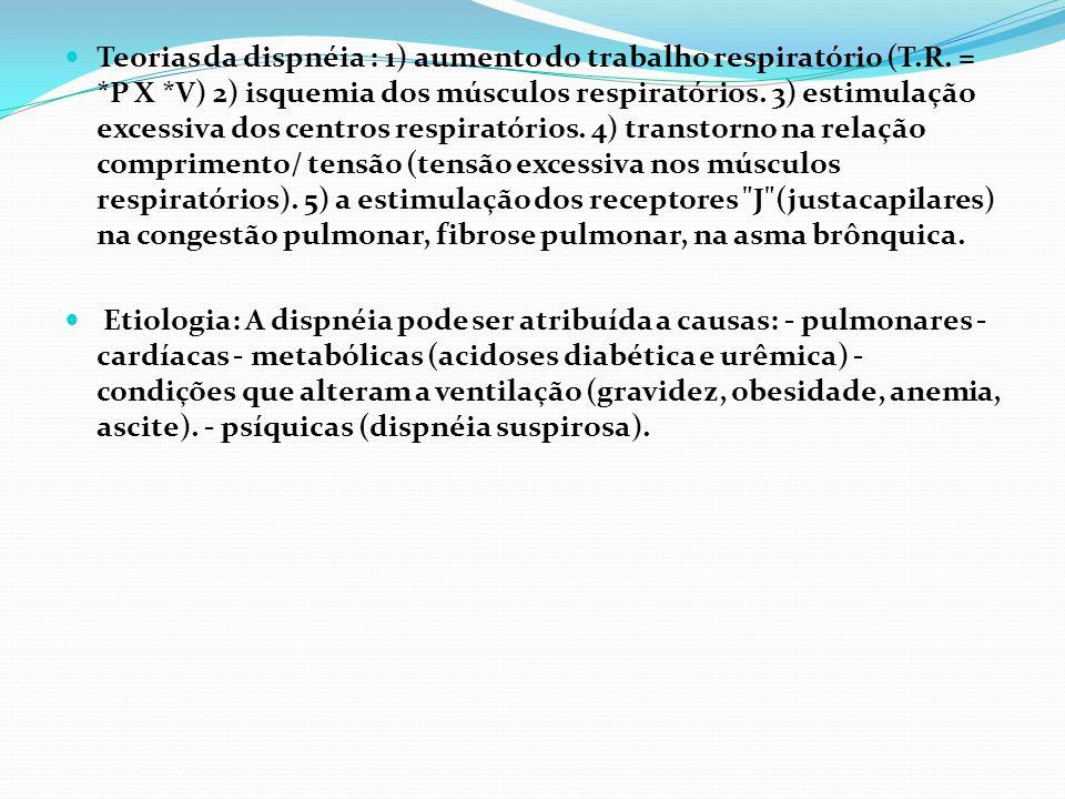 Teorias da dispnéia : 1) aumento do trabalho respiratório (T.R. = *P X *V) 2) isquemia dos músculos respiratórios. 3) estimulação excessiva dos centros respiratórios. 4) transtorno na relação comprimento/ tensão (tensão excessiva nos músculos respiratórios). 5) a estimulação dos receptores J (justacapilares) na congestão pulmonar, fibrose pulmonar, na asma brônquica.