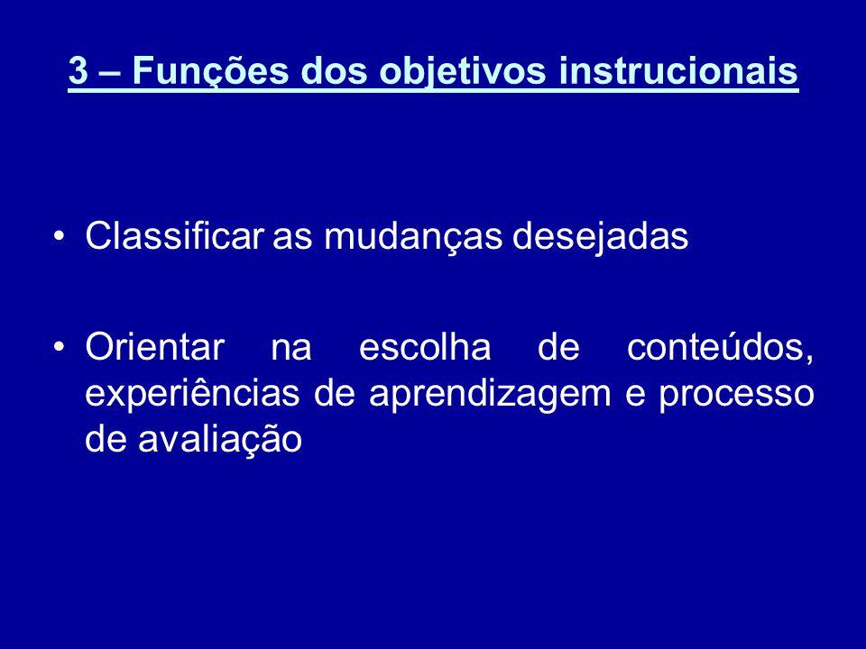 3 – Funções dos objetivos instrucionais