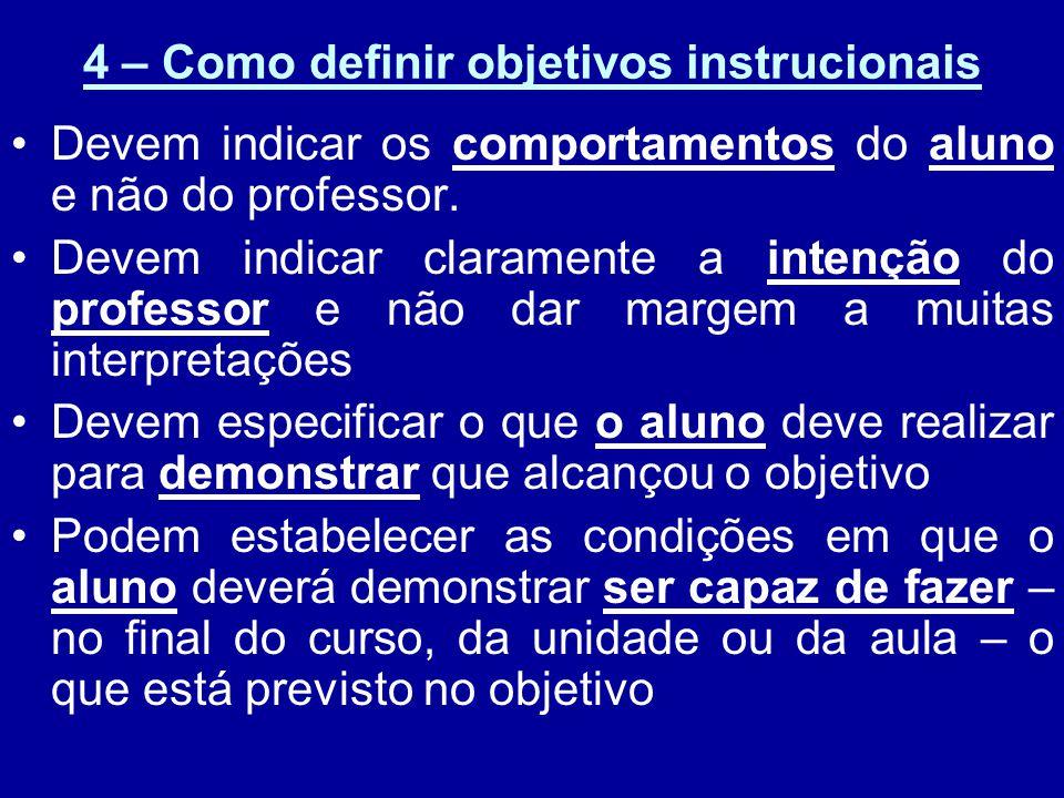 4 – Como definir objetivos instrucionais