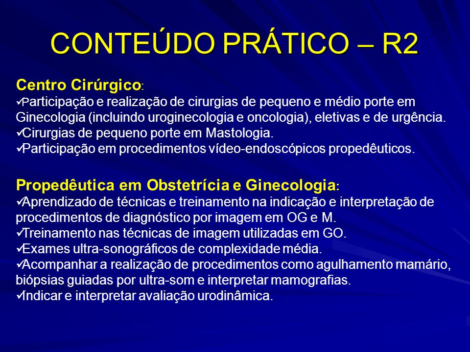CONTEÚDO PRÁTICO – R2 Centro Cirúrgico: