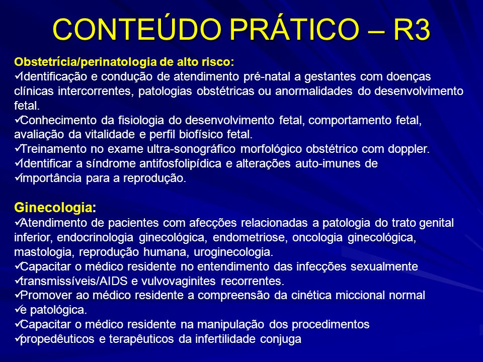 CONTEÚDO PRÁTICO – R3 Ginecologia: