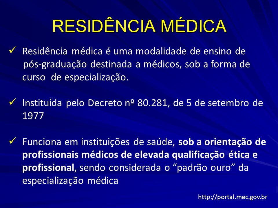 RESIDÊNCIA MÉDICA Residência médica é uma modalidade de ensino de