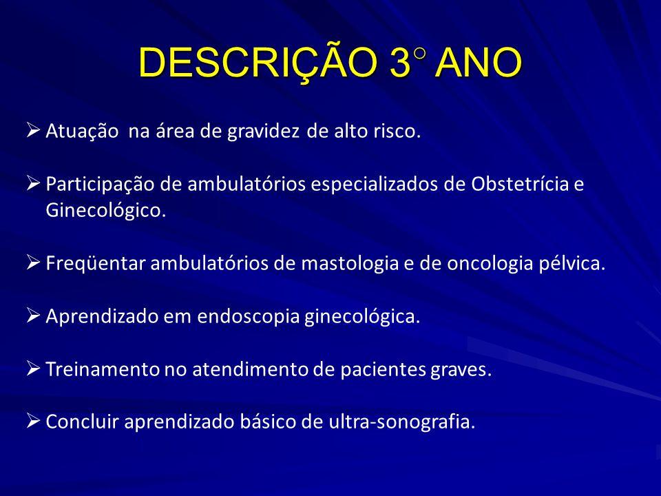 DESCRIÇÃO 3○ ANO Atuação na área de gravidez de alto risco.