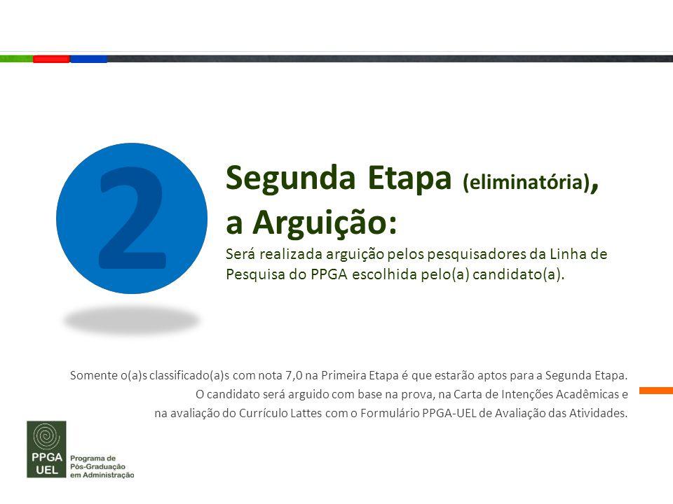 2 Segunda Etapa (eliminatória), a Arguição: Será realizada arguição pelos pesquisadores da Linha de Pesquisa do PPGA escolhida pelo(a) candidato(a).