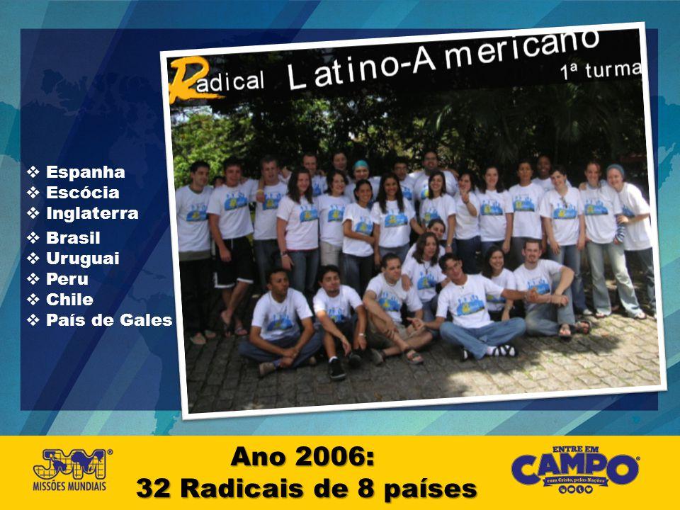 Ano 2006: 32 Radicais de 8 países Espanha Escócia Inglaterra Brasil