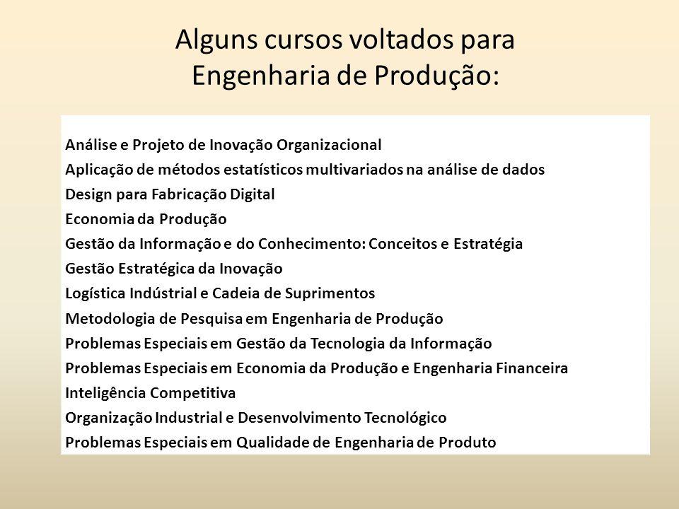 Alguns cursos voltados para Engenharia de Produção: