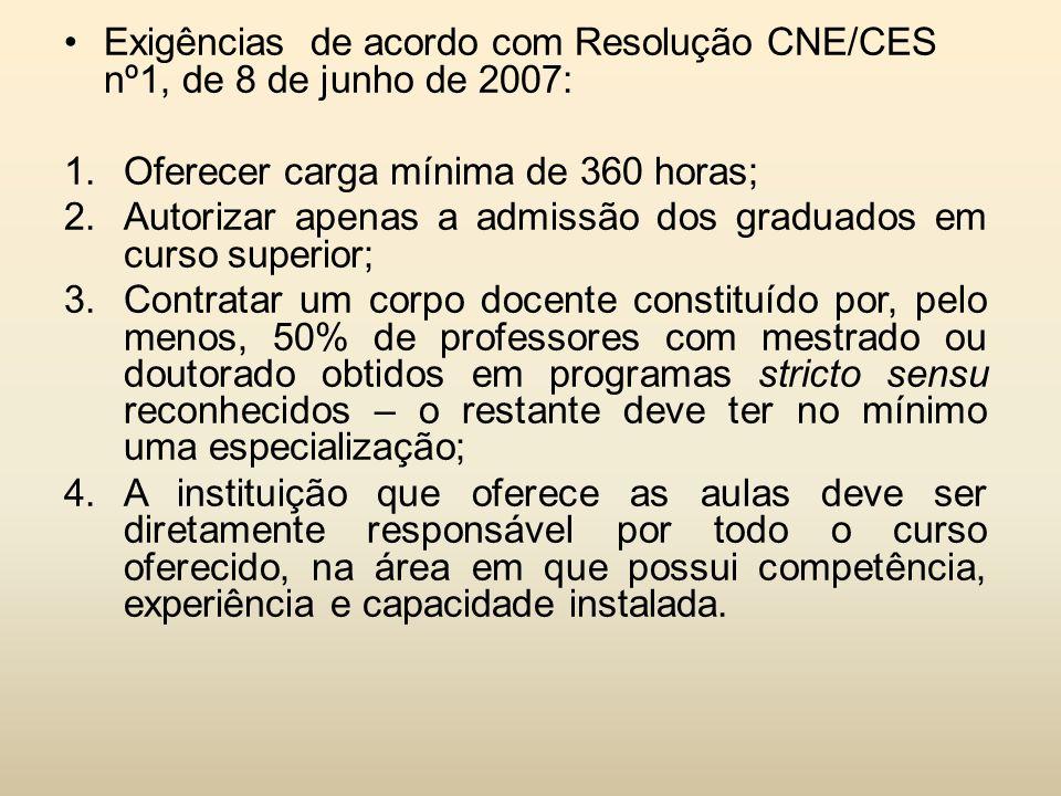Exigências de acordo com Resolução CNE/CES nº1, de 8 de junho de 2007: