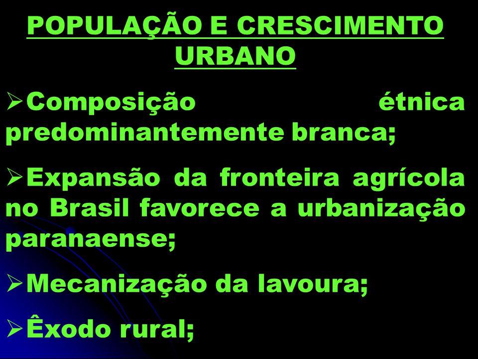 POPULAÇÃO E CRESCIMENTO URBANO