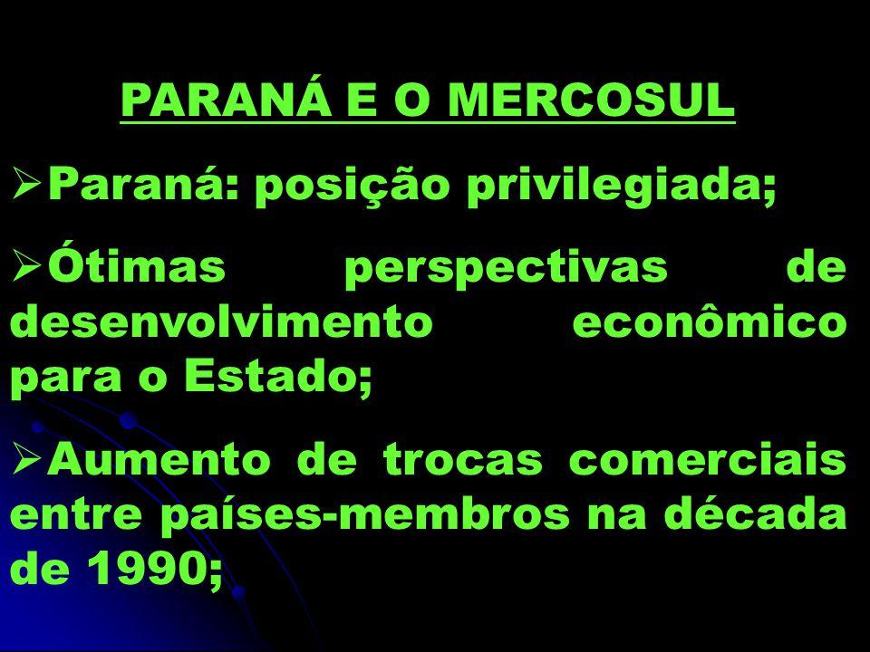 PARANÁ E O MERCOSUL Paraná: posição privilegiada; Ótimas perspectivas de desenvolvimento econômico para o Estado;