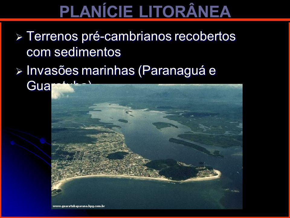 PLANÍCIE LITORÂNEA Terrenos pré-cambrianos recobertos com sedimentos