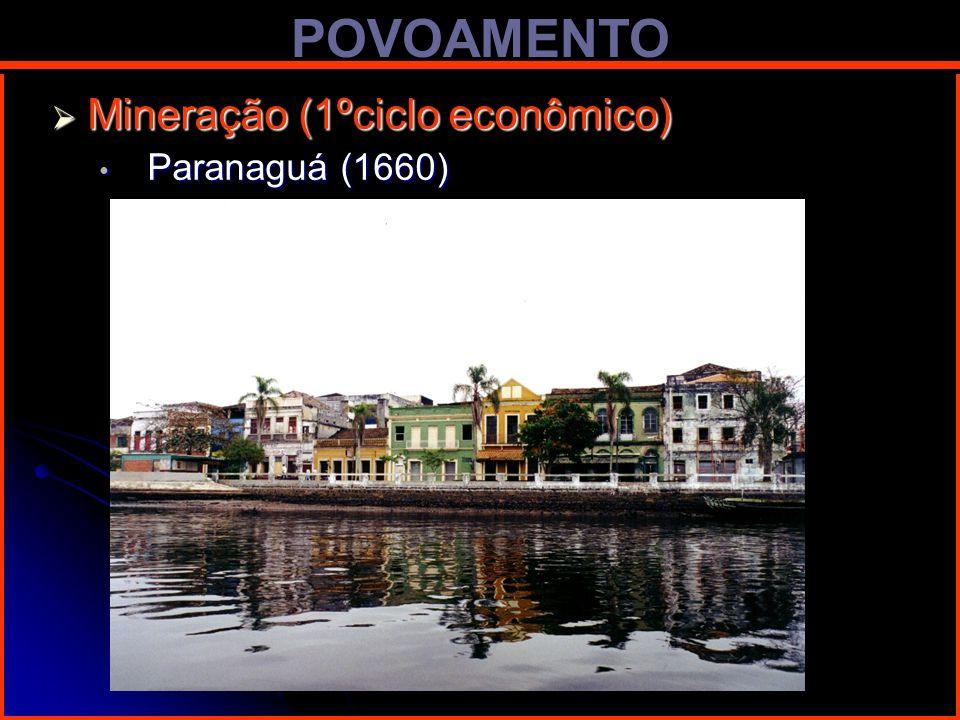 POVOAMENTO Mineração (1ºciclo econômico) Paranaguá (1660)