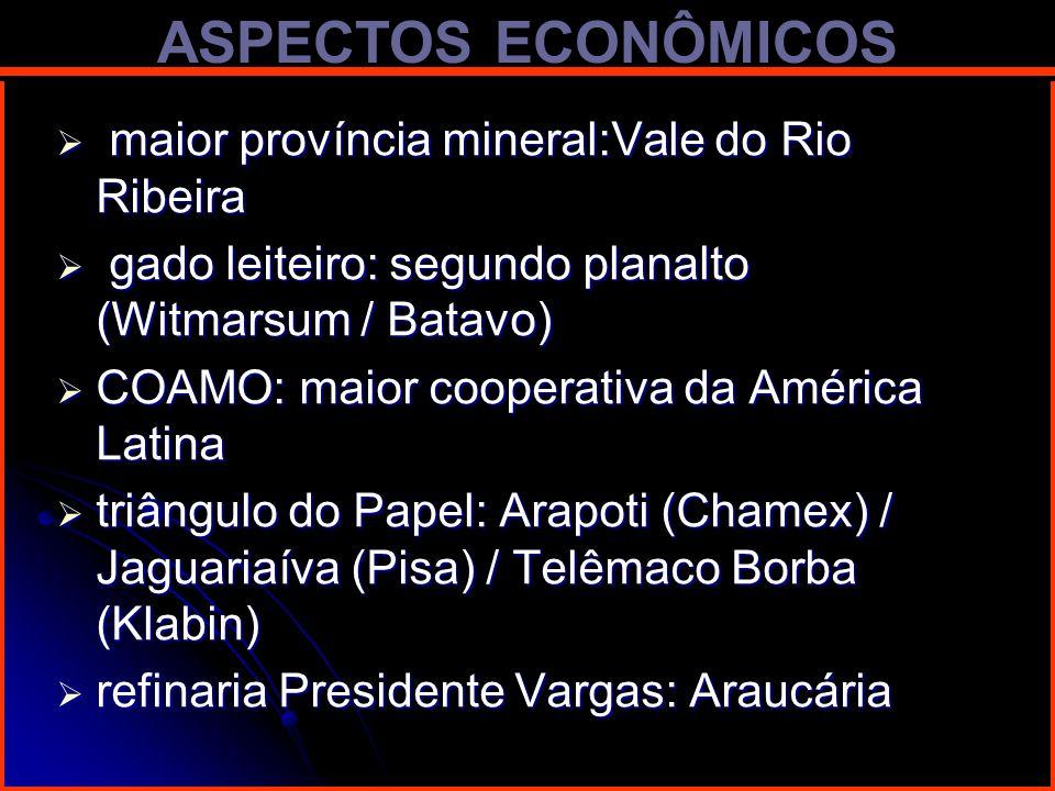 ASPECTOS ECONÔMICOS maior província mineral:Vale do Rio Ribeira