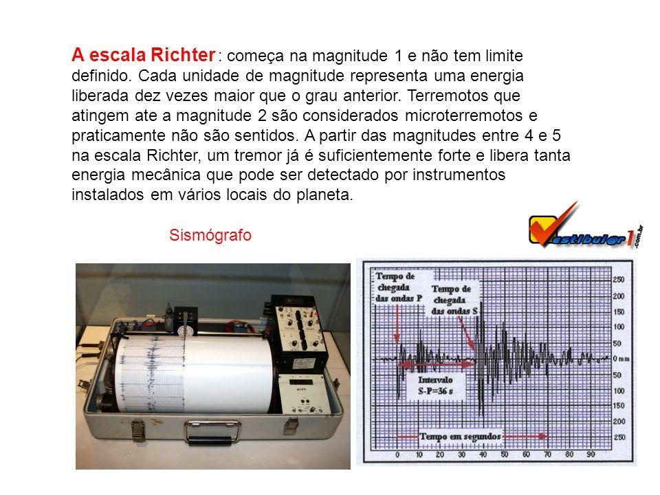 A escala Richter : começa na magnitude 1 e não tem limite definido