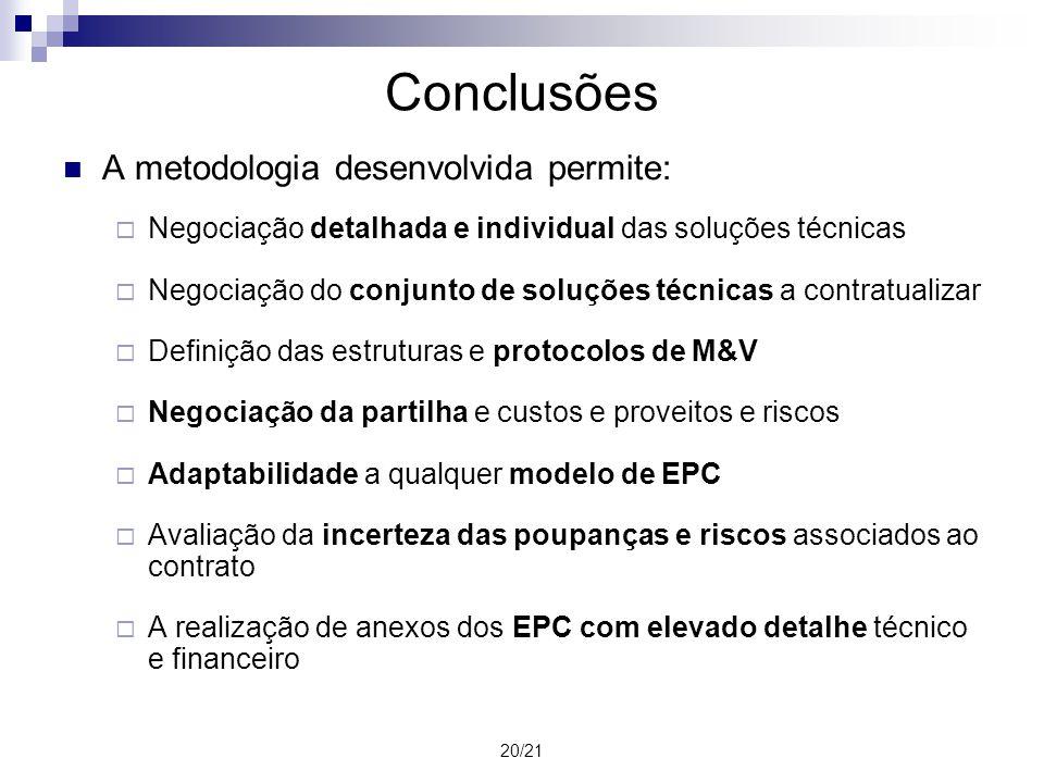 Conclusões A metodologia desenvolvida permite: