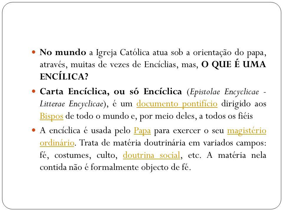 No mundo a Igreja Católica atua sob a orientação do papa, através, muitas de vezes de Encíclias, mas, O QUE É UMA ENCÍLICA