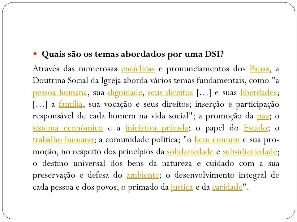 Quais são os temas abordados por uma DSI