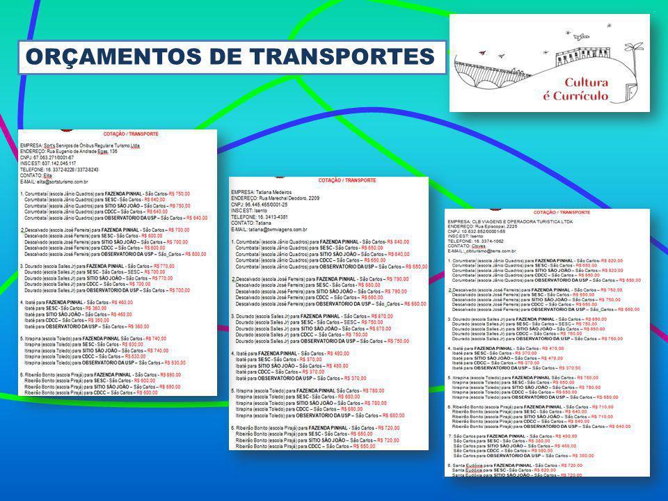 ORÇAMENTOS DE TRANSPORTES