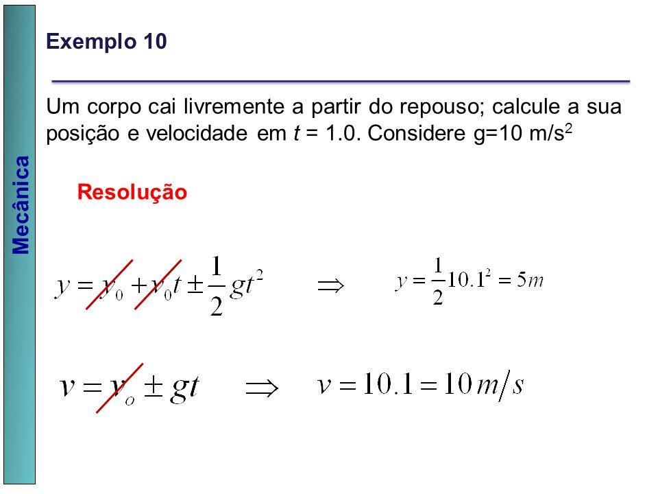 Exemplo 10 Um corpo cai livremente a partir do repouso; calcule a sua posição e velocidade em t = 1.0. Considere g=10 m/s2.