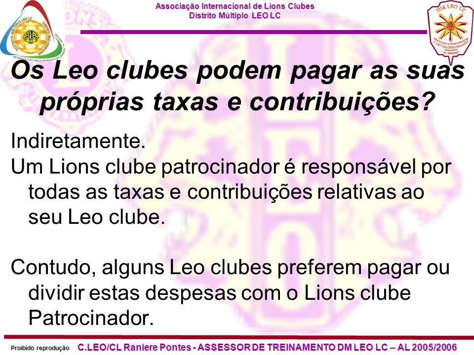 Os Leo clubes podem pagar as suas próprias taxas e contribuições
