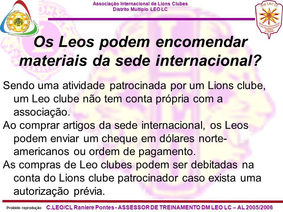 Os Leos podem encomendar materiais da sede internacional