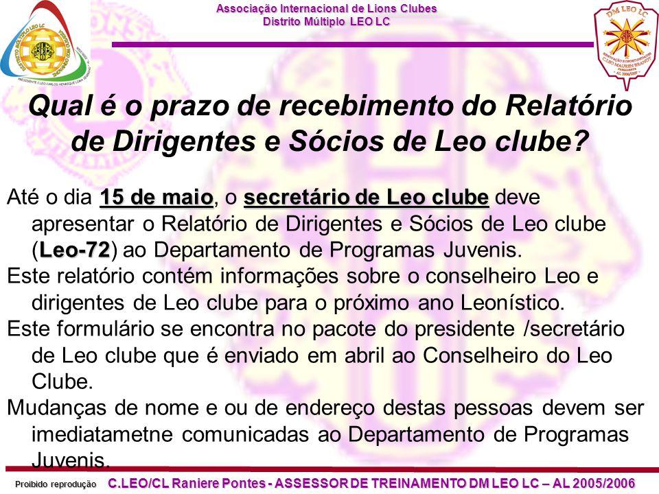 Qual é o prazo de recebimento do Relatório de Dirigentes e Sócios de Leo clube