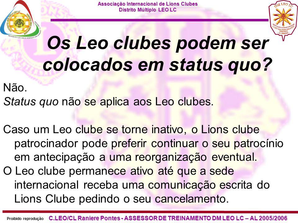 Os Leo clubes podem ser colocados em status quo