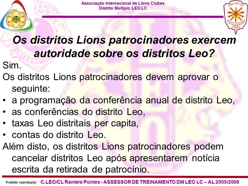 Os distritos Lions patrocinadores exercem autoridade sobre os distritos Leo