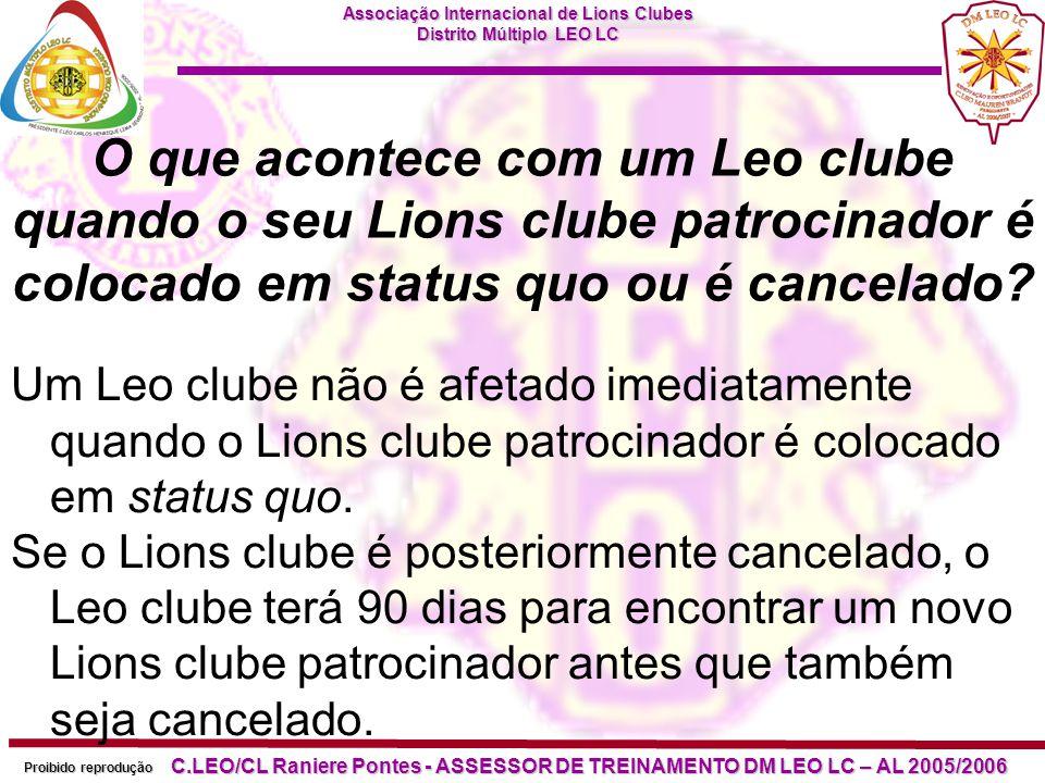 O que acontece com um Leo clube quando o seu Lions clube patrocinador é colocado em status quo ou é cancelado