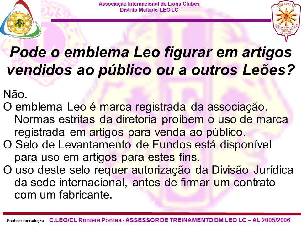 Pode o emblema Leo figurar em artigos vendidos ao público ou a outros Leões