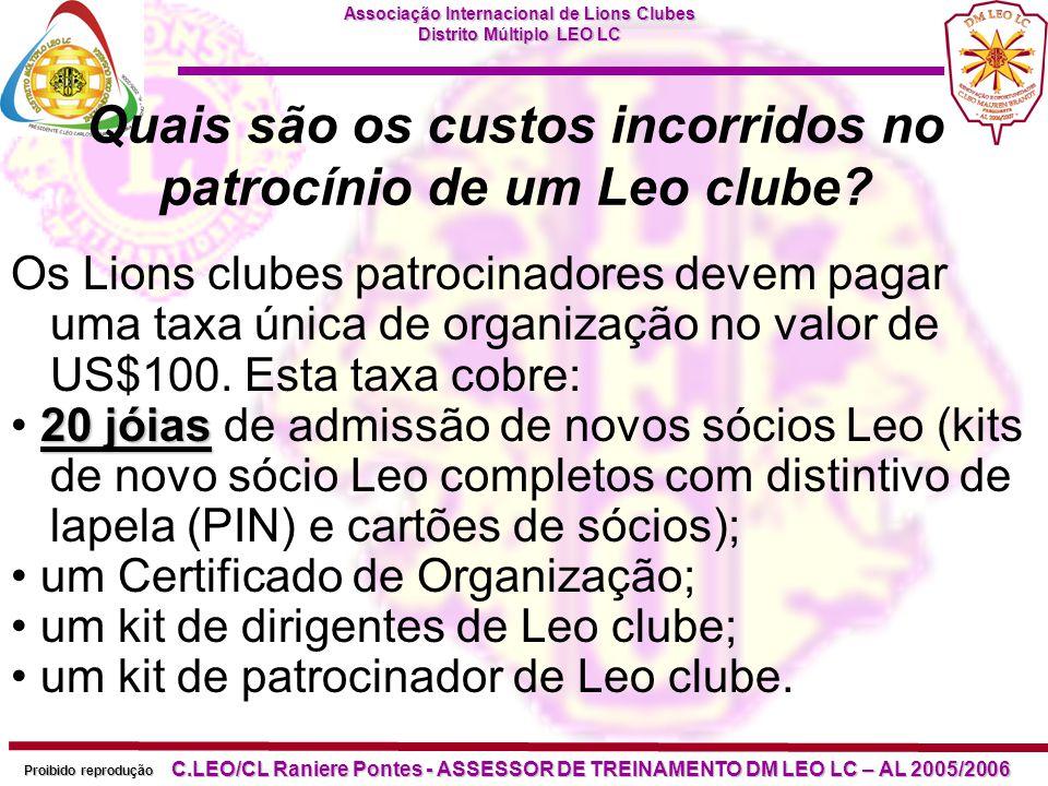 Quais são os custos incorridos no patrocínio de um Leo clube