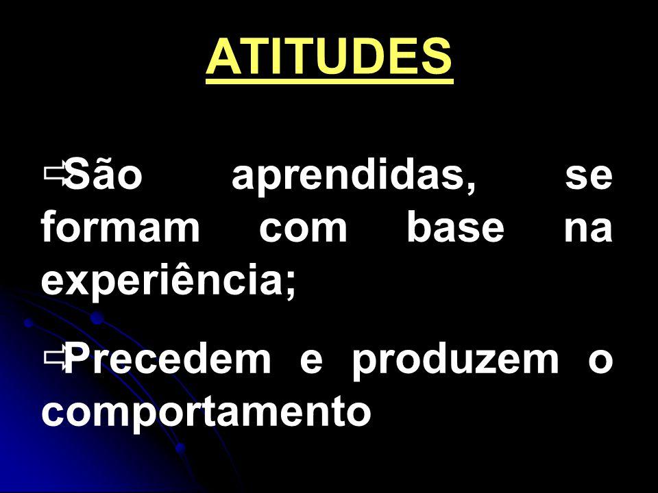 ATITUDES São aprendidas, se formam com base na experiência;