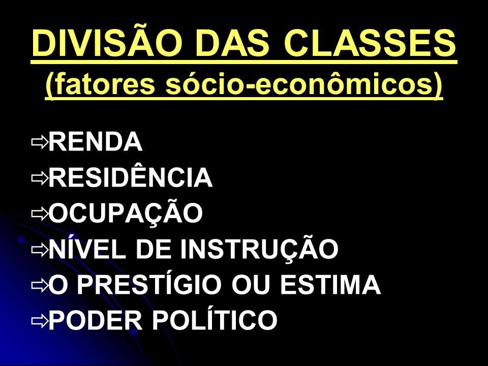 DIVISÃO DAS CLASSES (fatores sócio-econômicos)