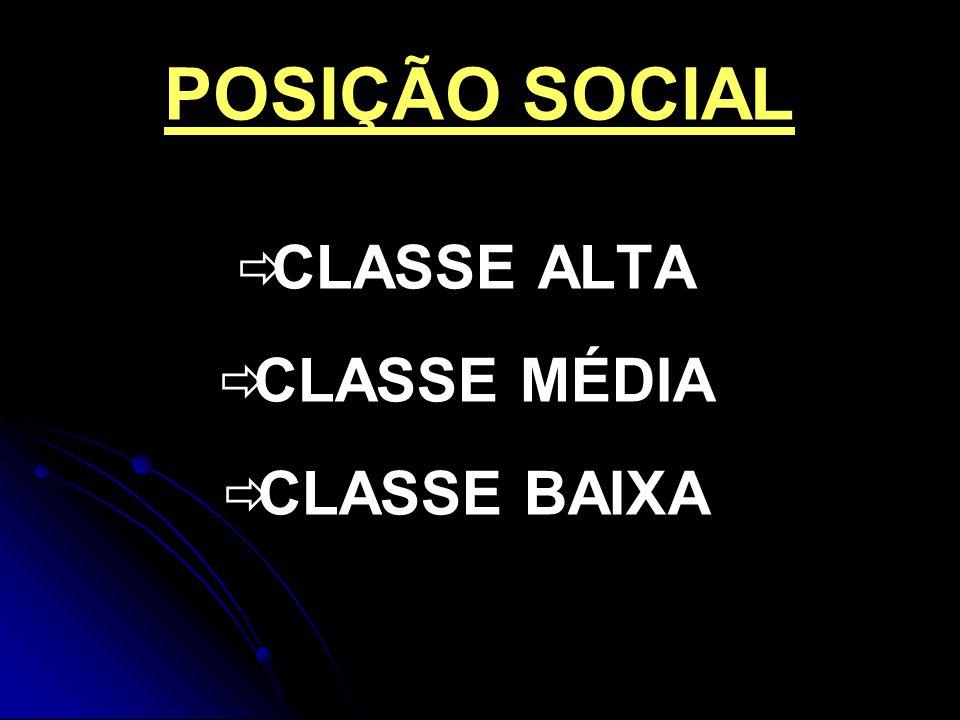 POSIÇÃO SOCIAL CLASSE ALTA CLASSE MÉDIA CLASSE BAIXA