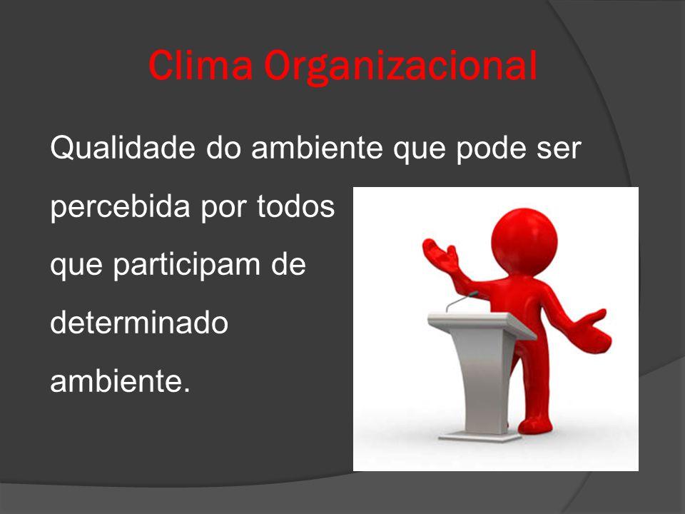 Clima Organizacional Qualidade do ambiente que pode ser percebida por todos que participam de determinado ambiente.