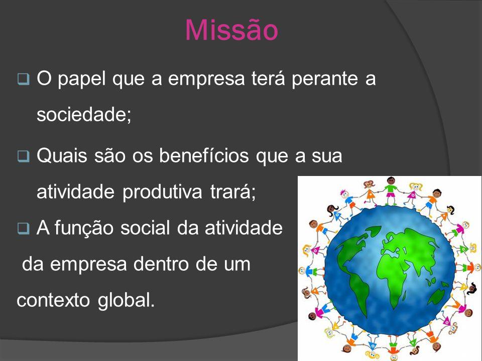 Missão O papel que a empresa terá perante a sociedade;